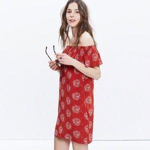 Madewell Palm flower Silk Off shoulder Dress